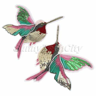 DIY Hummingbirds Embroidery Sew Iron On Patch Badge Clothes Fabric Applique 2Pcs