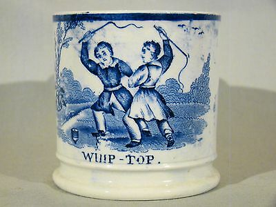Fine Antique Staffordshire Pearlware 'Whip Top' Child's Mug early 19th c