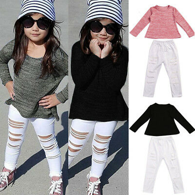 Toddler Kids Baby Girls Outfits Clothes Long Sleeve Tops T-Shirt+Long Pants Set