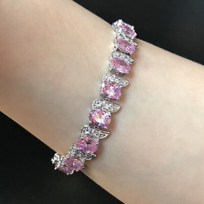 """Oval Pink Sapphire Cubic Zirconia CZ White Gold Plated Tennis Bracelet 7.25"""""""