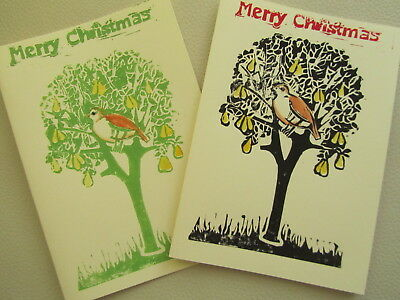 A partridge in a pear tree, 2 x  handmade Christmas art cards, linocut print