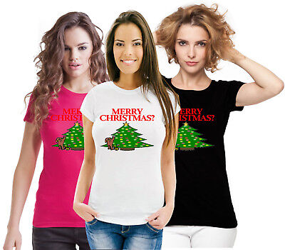 87e193acd7 Silly Funny Novelty Xmas Top Dog Peeing Merry Christmas ? Really Ladies T  Shirt