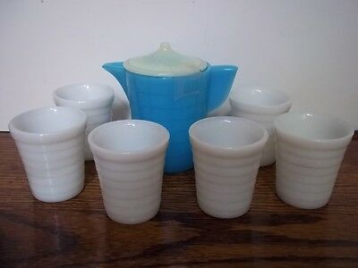 AKRO AGATE STACKED DISC GLASS SET BLUE AND WHITE 6 Tumblers & Water Pitcher