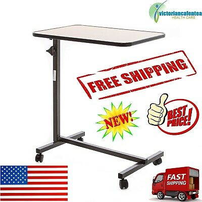 Overbed Rolling Table Over Bed Laptop Food Tray Hospital Desk Adjustable Wheels