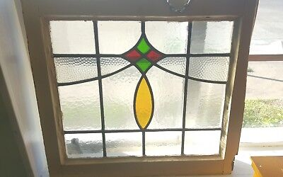 "Orginal Old SASH!! Vintage Leaded  stained glass  window 20 3/4""x19"""