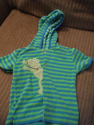 B.T. Kids 2T Kids Swim Coverup with Hood - Green/Blue Striped with Frog