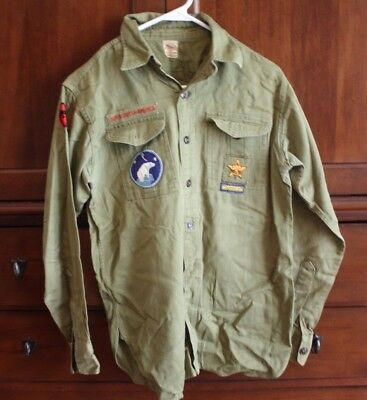 Vintage 1940s Boy Scout BSA long sleeve uniform shirt patches Michigan Polar