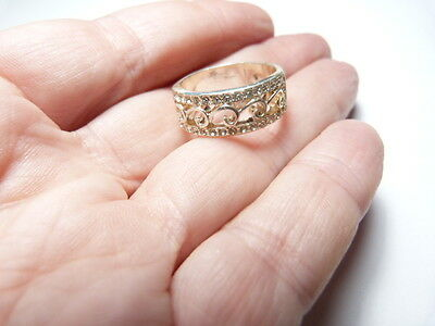 Vintage silver tone open work metal Clear Rhinestone Band Ring