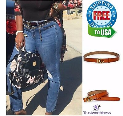 Womens Genuine Leather Brown Thin Belt For Jeans 0.9″ Wide with GG metal buckl