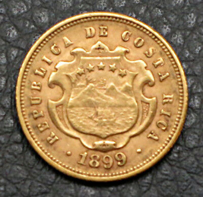 "1899 Costa Rica - 5 (Cinco ) Colones Gold Coin.  ""MS"" Uncirculated -   KM#:142"