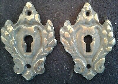 "2 Vintage Antique Style Ornate French Eschutcheons, Keyhole covers  2 1/4""  #E1"