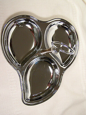 Vintage Shelton Ware Chrome 3-Section Serving Tray Vertical Wood Handle Retro