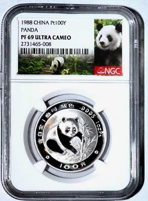1988 China Platinum 100 Yuan Proof Panda Coin NGC/NCS PF69 Ultra Cameo Conserved