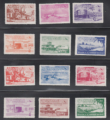 Liberia # C71-76 C82-87 TWO MNH  Sets Ship Train Bridge Transportation CV $15