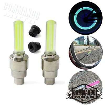 Yellow LED Flash Glow Neon Lamps Wheel Tire Valve Stem Caps Lights For Cars Bike