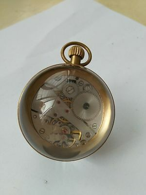 2.36x2.88 inch / Works CHINESE vintage BRASS GLASS pocket watch BALL clock