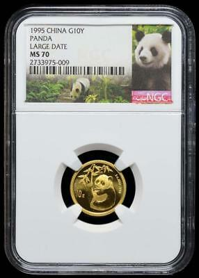 1995 China 10 Yuan Large Date Gold Panda Coin NGC/NCS MS70  Perfect!! Conserved!