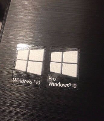 1/5/10x Windows 10/ Pro White - Transparent Background Sticker  Badge - CLEAR