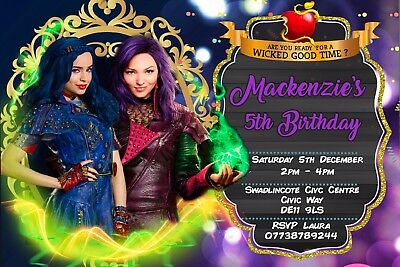 Personalised Disney Descendants Birthday Party Invites Inc Envelopes DEC2