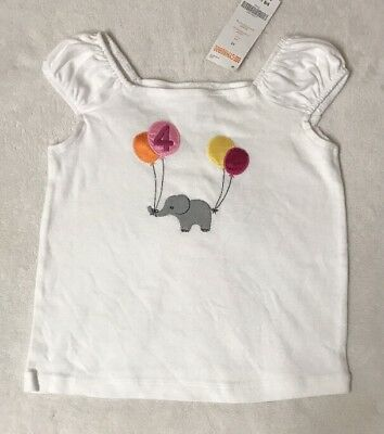 NWT 4T 4 Years Gymboree Outlet BIRTHDAY GIRL White Elephant Balloons T-Shirt Top