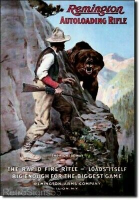 Remington Gun Metal Tin Ad Sign Vtg Picture Poster Bear Hunting Rifle Gift New