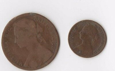1864 Great Britain Farthing KM 747.2 1877 Penny FREE SHIPPING !!!!!!!!