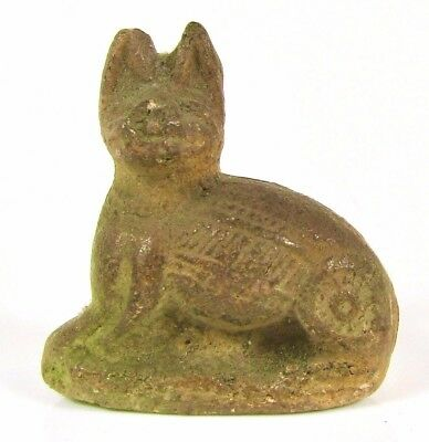 Antique Egyptian Cat Faience Figure Amulet Small Pottery Statue