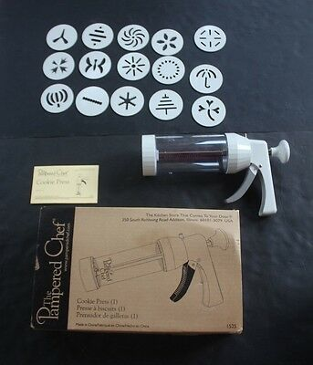 EUC Pampered Chef Model 1525 Cookie Press 15 Inserts Box Instructions baking