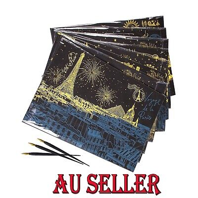 AU 5 X A4 Premium Scratch Art Kit Magic Scratch Paper DIY Craft Kit Preprint