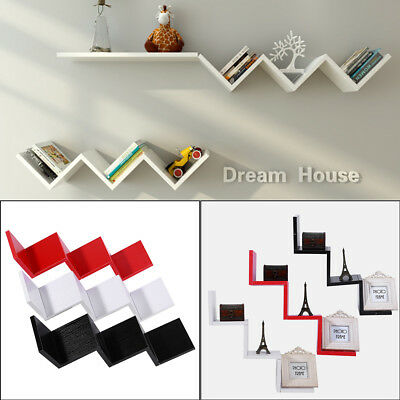 Modern Wooden W Shaped Floating Wall Mounted Shelves DVD BOOK Storage Shelf Home