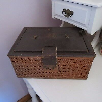 Large antique cane sewing box with contents