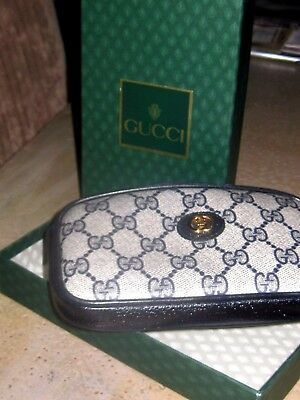 GUCCI Vintage 80's BLUE Monogram Cosmetic/Eyeglass Case WITH BOX!