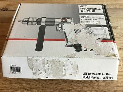 "JET 1/2"" Reversible Air Drill JSM-704 90psi 800 RPM new in box"