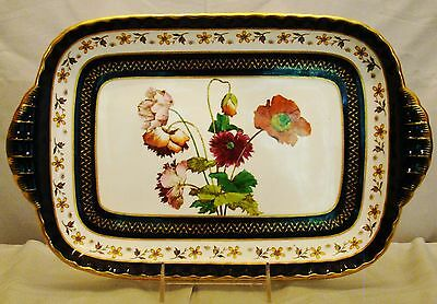 Antique Minton Cobalt Blue & Gold Hand Painted Botanical Serving Dish Tray 1885