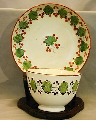 Staffordshire Pearlware Hand Decorated Leaf & Berry Tea Bowl & Saucer late 18th