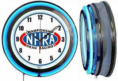 """NHRA Drag Racing 19"""" Double Neon Clock Chrome Finish Choice of Red or Blue Neon"""