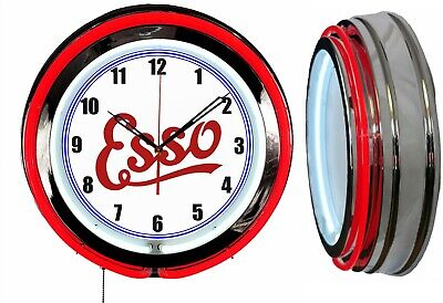 """Esso Oil and Gas 19"""" Double Neon Clock Chrome Finish Red or Blue Neon Color"""