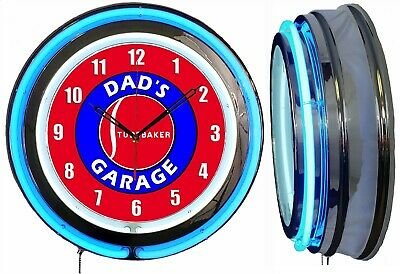 """19"""" Double Neon Clock Dad's Studebaker Garage Choice of Red or Blue Neon"""