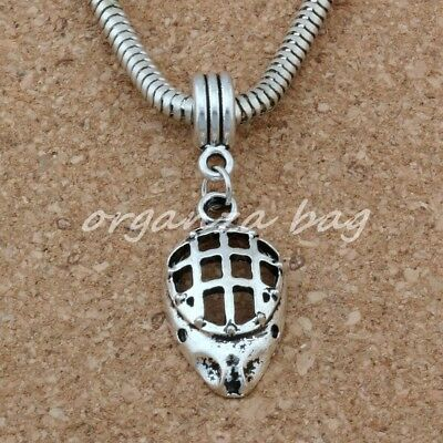 10pcs Dangle Ancient silver Hockey Goalie Face Mask Sports Charm Big Hole Beads