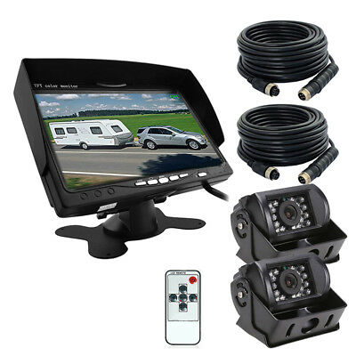 "2x Rear View Back up Camera Night Vision System+7"" Monitor Kit for RV Truck Bus"