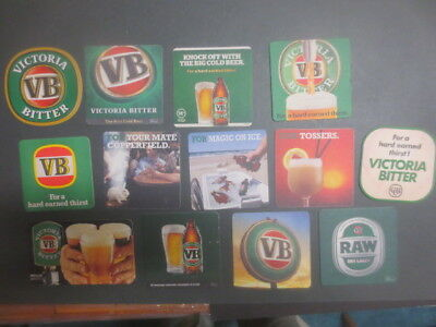13 different VICTORIA BITTER , Issued BEER  COASTERS  collectable