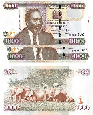 Kenya 1,000 1000 shillings 2010 two UNC paper money banknote consecutive B143