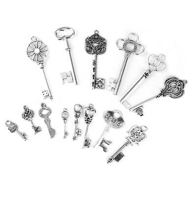 24pcs Bottle Opener Wedding Craft Antique Silver Key Charm Chain Jewelry DIY