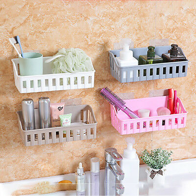 Bathroom Storage Cup Holder Shelf Shower Caddy Tool Organizer Rack Basket Sucker