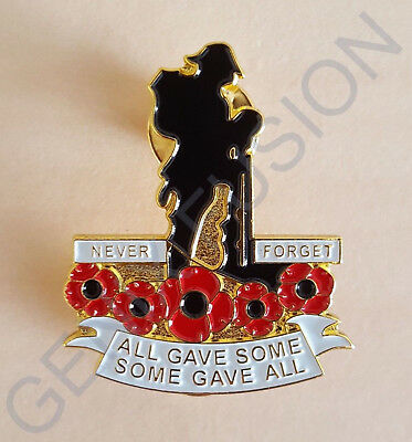Never Forget All Gave Some Poppy Soldier Lapel Pin Badge *10% TO BRITISH LEGION*