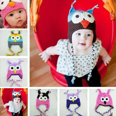 Cute Kid Baby Boy Girl Toddler Handmade Child Owl Knit Crochet Hat Beanie Cap