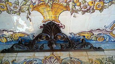 Antique Hand Carved Wood Pediment #1