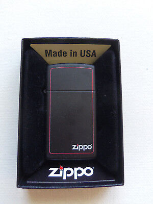 BRIQUET ZIPPO ESSENCE NEUF - NOIR SLIM ( Bords rouges ) Original , Tempete