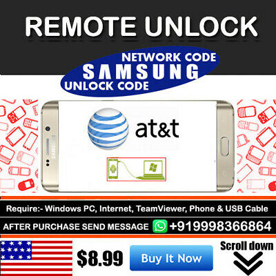 Instant Remote Unlock Code Service For At&t Samsung Galaxy S8 S8+ Note 8 S7 Edge