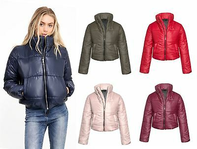 Womens Cropped Jacket Puffa Puffer Padded Quilted Warm Winter Fashion Top Coat